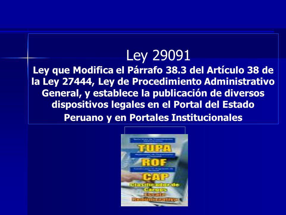 Ley 29091 Ley que Modifica el Párrafo 38