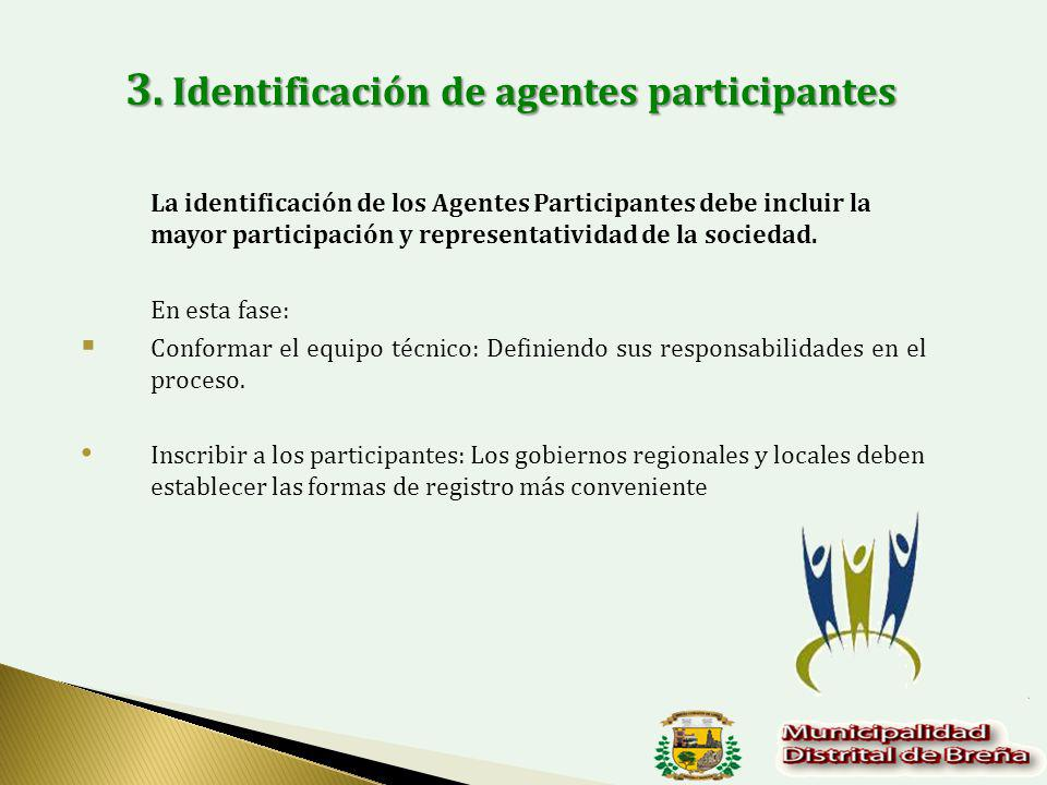 3. Identificación de agentes participantes