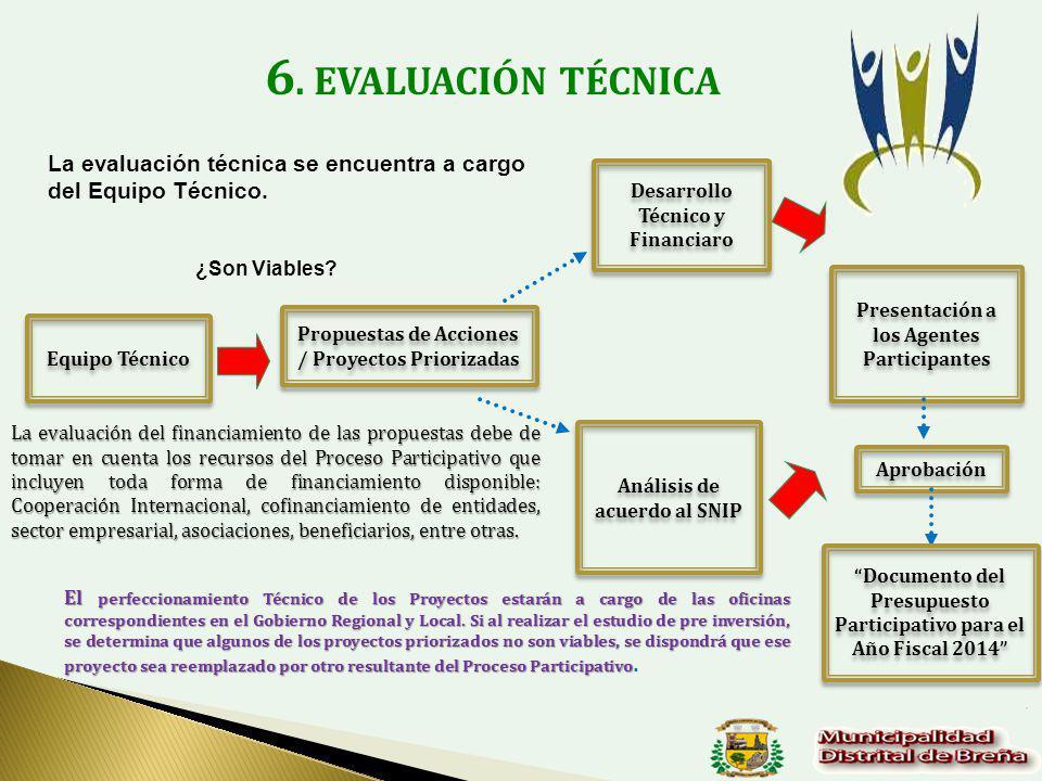 6. EVALUACIÓN TÉCNICA La evaluación técnica se encuentra a cargo del Equipo Técnico. Desarrollo Técnico y Financiaro.