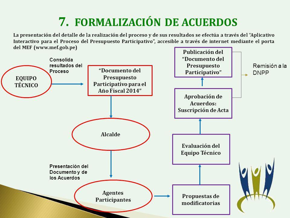 7. FORMALIZACIÓN DE ACUERDOS