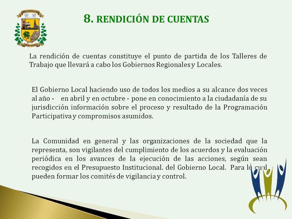 8. RENDICIÓN DE CUENTAS