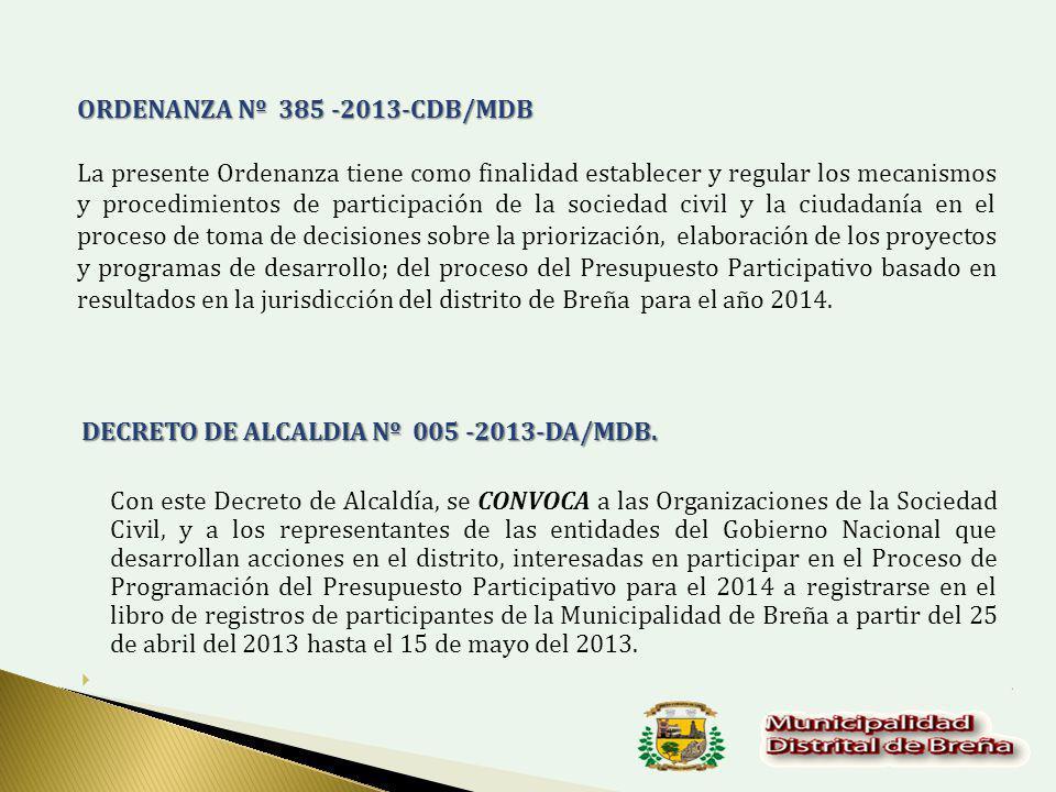 ORDENANZA Nº 385 -2013-CDB/MDB