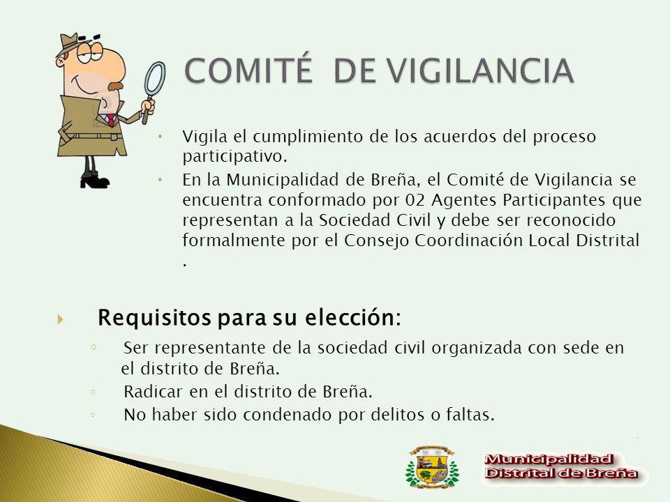 COMITÉ DE VIGILANCIA Requisitos para su elección:
