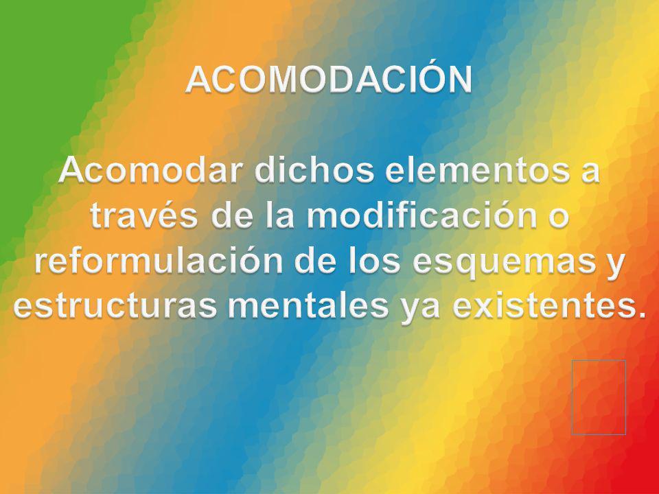 ACOMODACIÓN Acomodar dichos elementos a través de la modificación o reformulación de los esquemas y estructuras mentales ya existentes.