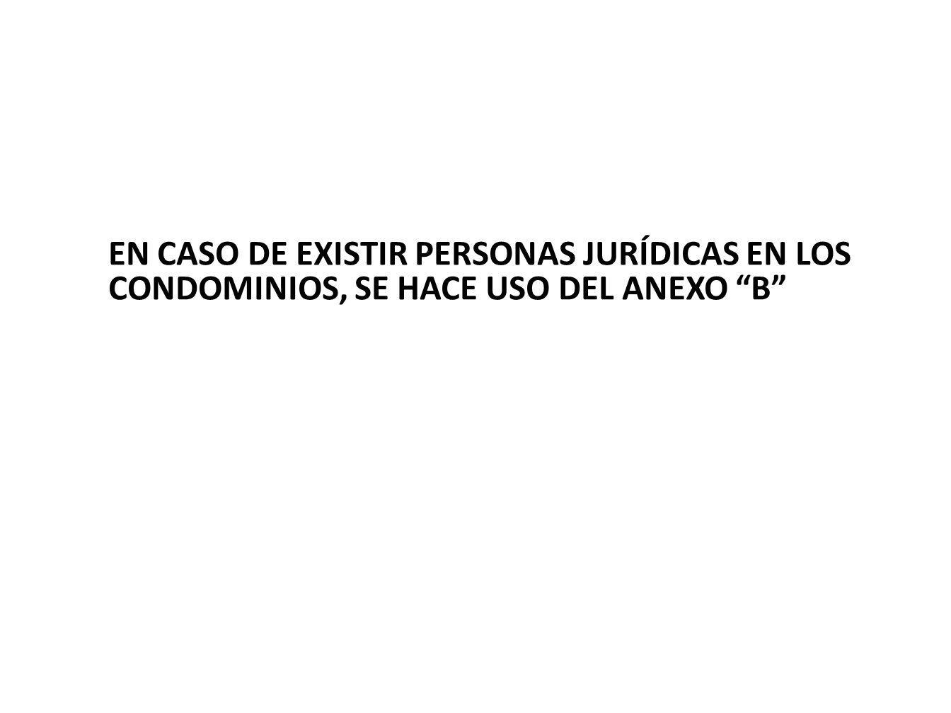 EN CASO DE EXISTIR PERSONAS JURÍDICAS EN LOS CONDOMINIOS, SE HACE USO DEL ANEXO b