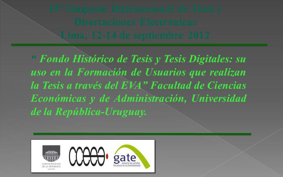 15º Simposio Internacional de Tesis y Disertaciones Electrónicas