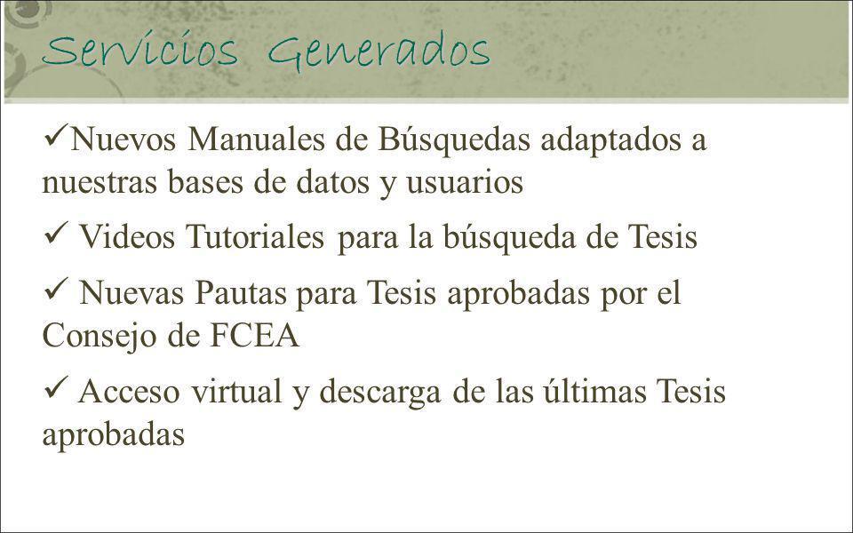 Servicios Generados Nuevos Manuales de Búsquedas adaptados a nuestras bases de datos y usuarios. Videos Tutoriales para la búsqueda de Tesis.