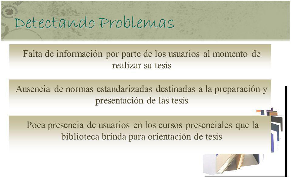 Detectando Problemas Falta de información por parte de los usuarios al momento de realizar su tesis.