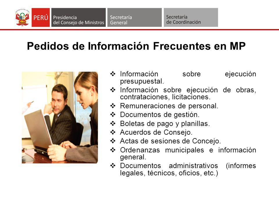 Pedidos de Información Frecuentes en MP