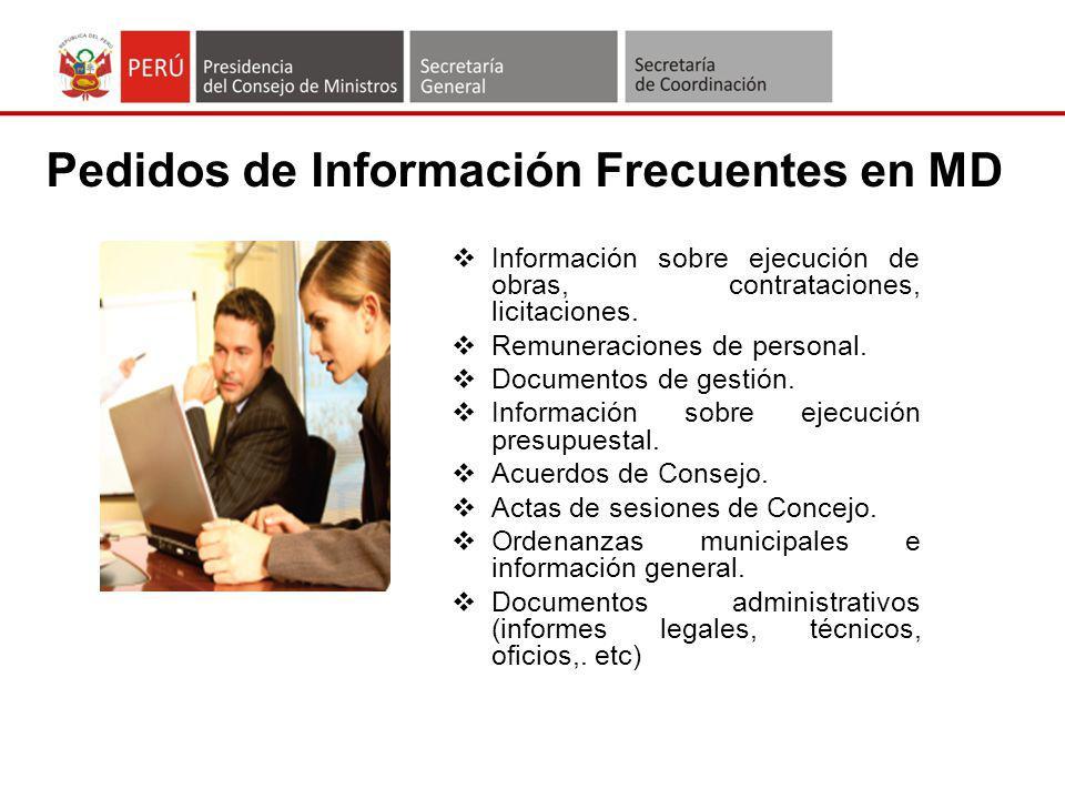 Pedidos de Información Frecuentes en MD
