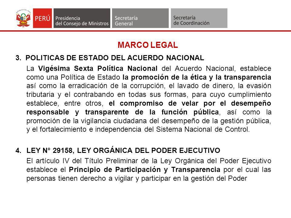 MARCO LEGAL 3. POLITICAS DE ESTADO DEL ACUERDO NACIONAL