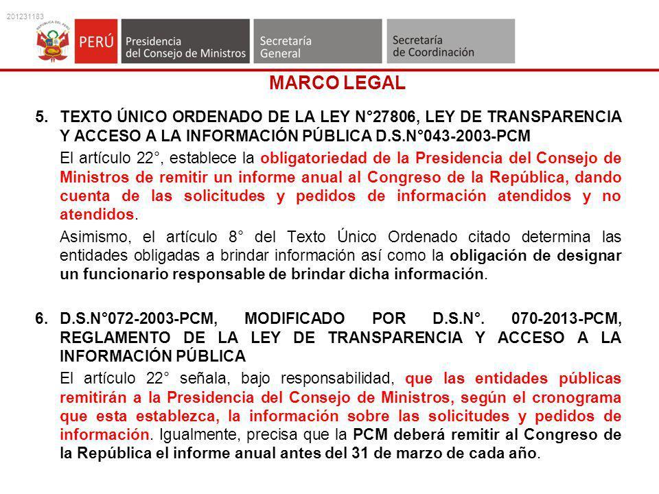 201231183 MARCO LEGAL. 5. TEXTO ÚNICO ORDENADO DE LA LEY N°27806, LEY DE TRANSPARENCIA Y ACCESO A LA INFORMACIÓN PÚBLICA D.S.N°043-2003-PCM.