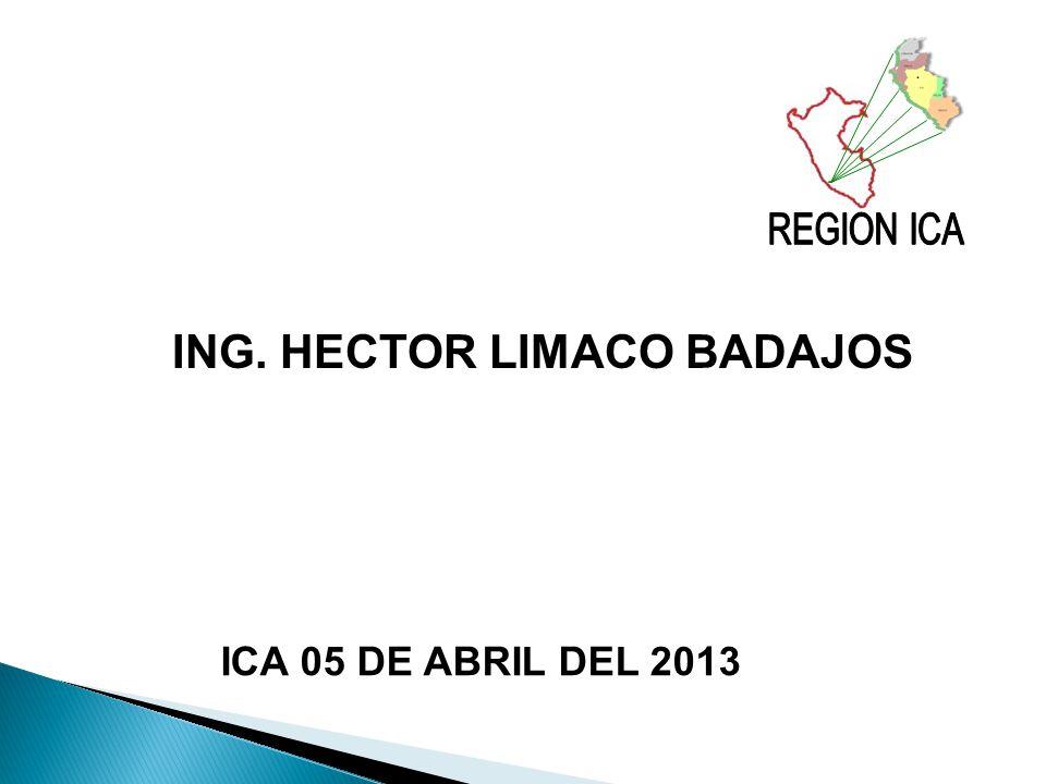 REGION ICA ING. HECTOR LIMACO BADAJOS ICA 05 DE ABRIL DEL 2013