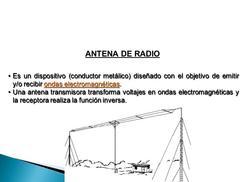 ANTENA DE RADIO Es un dispositivo (conductor metálico) diseñado con el objetivo de emitir y/o recibir ondas electromagnéticas.