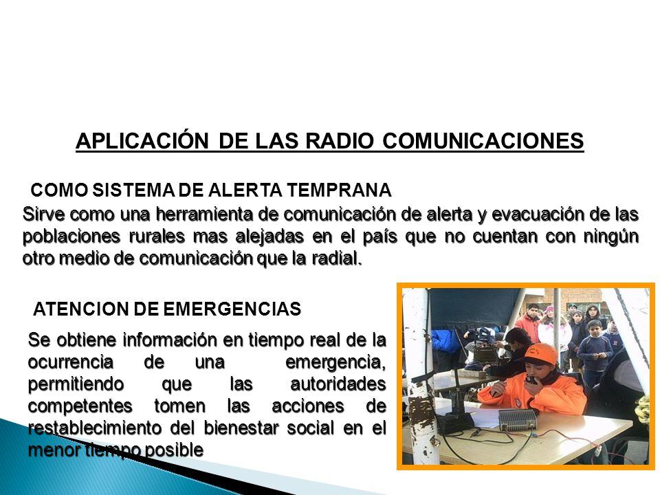 APLICACIÓN DE LAS RADIO COMUNICACIONES