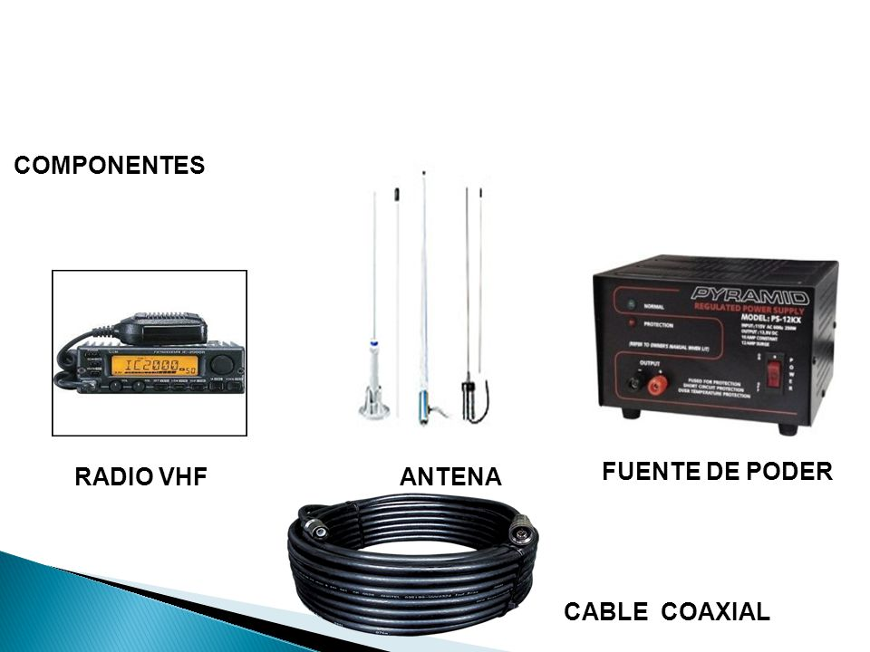 COMPONENTES FUENTE DE PODER RADIO VHF ANTENA CABLE COAXIAL