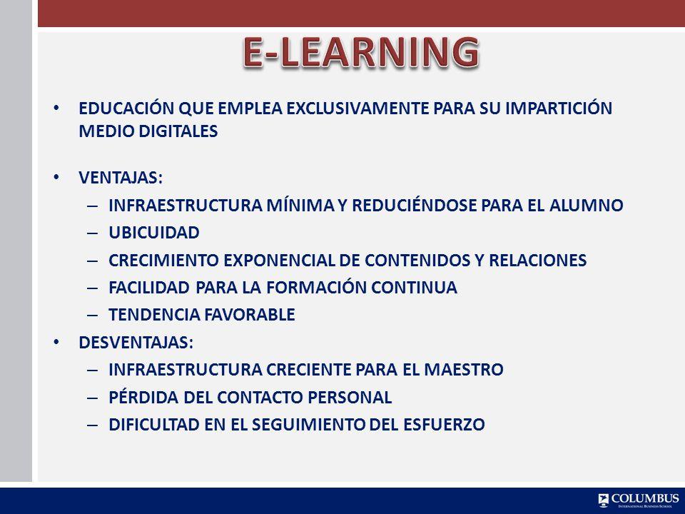 E-LEARNING EDUCACIÓN QUE EMPLEA EXCLUSIVAMENTE PARA SU IMPARTICIÓN MEDIO DIGITALES. VENTAJAS: INFRAESTRUCTURA MÍNIMA Y REDUCIÉNDOSE PARA EL ALUMNO.