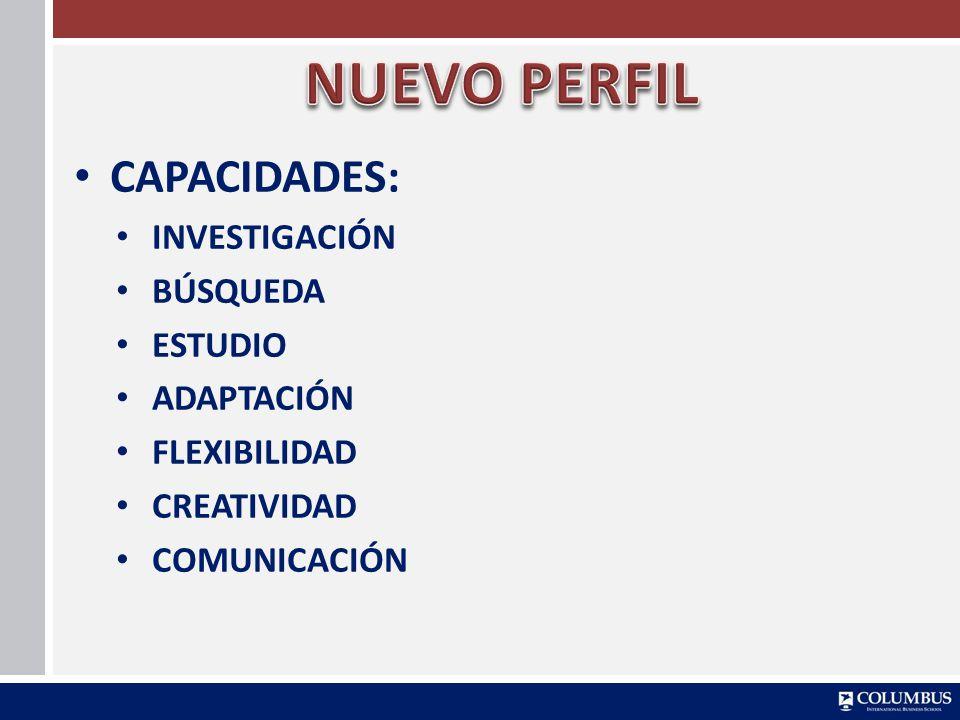 NUEVO PERFIL CAPACIDADES: INVESTIGACIÓN BÚSQUEDA ESTUDIO ADAPTACIÓN