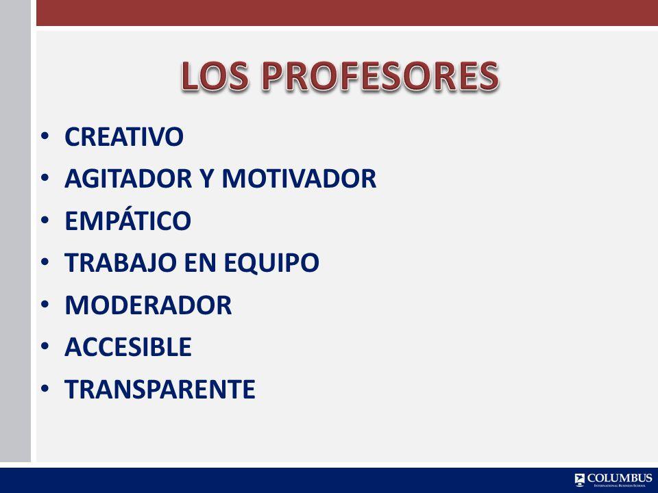 LOS PROFESORES CREATIVO AGITADOR Y MOTIVADOR EMPÁTICO