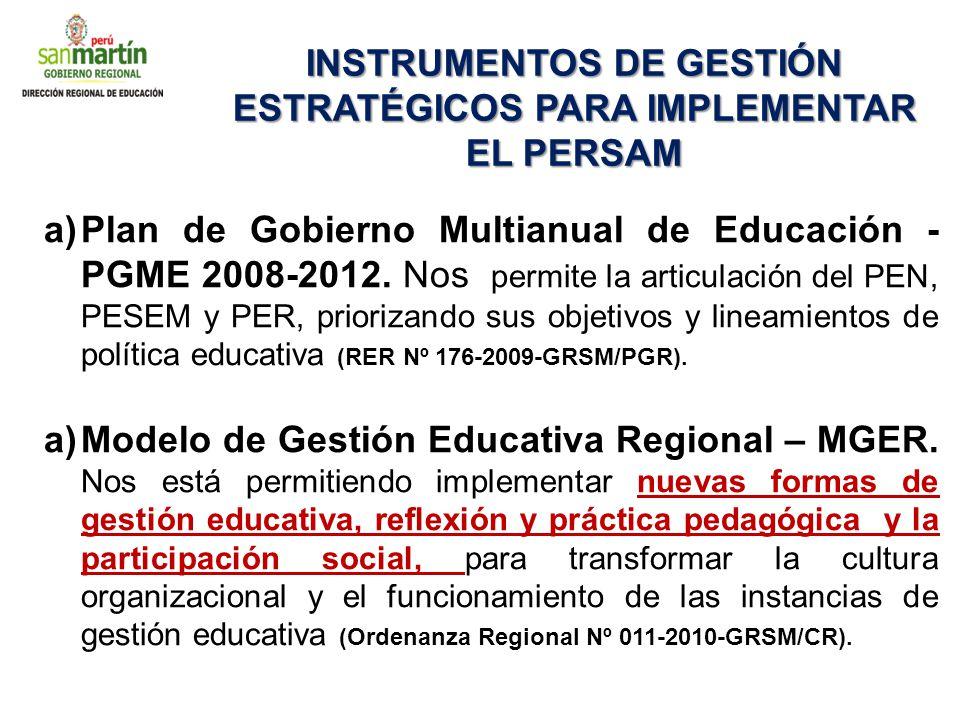 INSTRUMENTOS DE GESTIÓN ESTRATÉGICOS PARA IMPLEMENTAR EL PERSAM