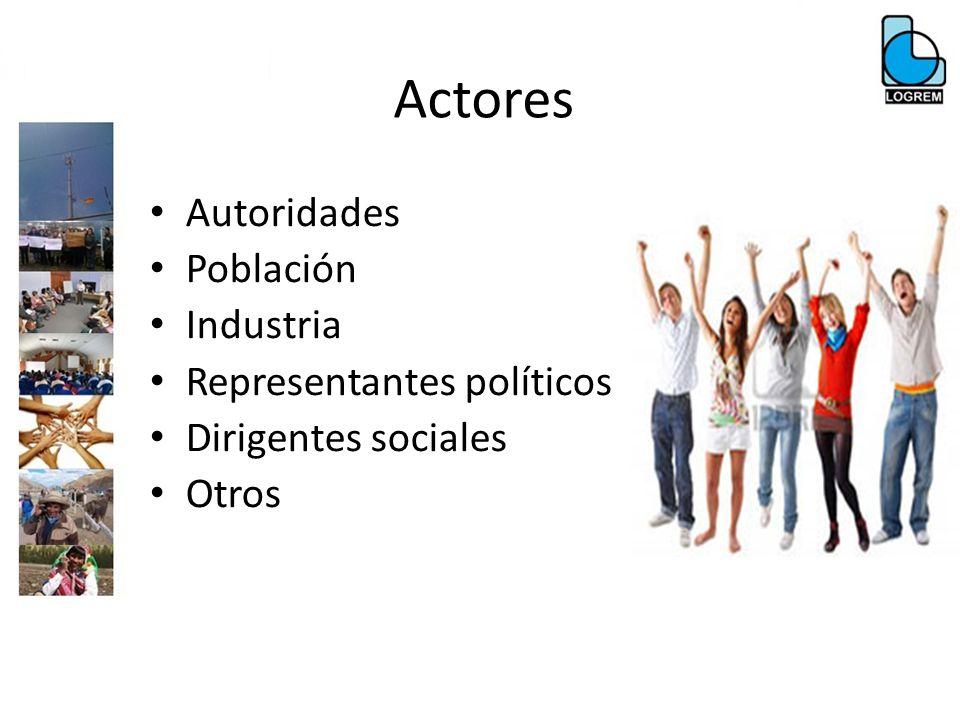 Actores Autoridades Población Industria Representantes políticos