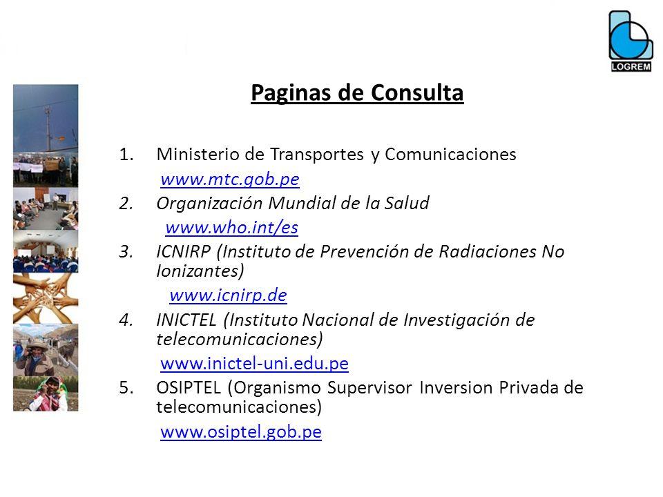 Paginas de Consulta Ministerio de Transportes y Comunicaciones