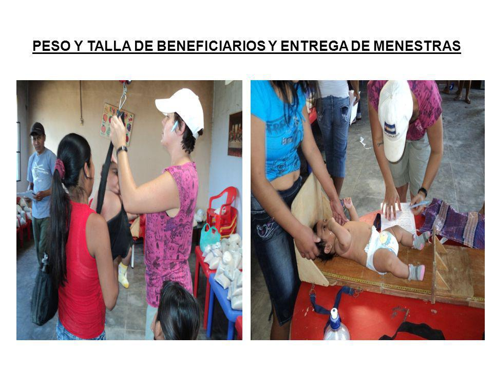 PESO Y TALLA DE BENEFICIARIOS Y ENTREGA DE MENESTRAS