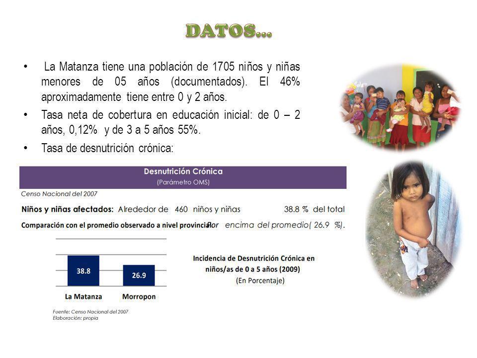 DATOS… La Matanza tiene una población de 1705 niños y niñas menores de 05 años (documentados). El 46% aproximadamente tiene entre 0 y 2 años.