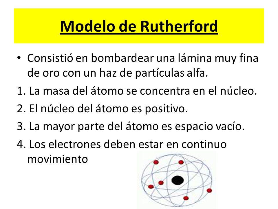 Modelo de Rutherford Consistió en bombardear una lámina muy fina de oro con un haz de partículas alfa.