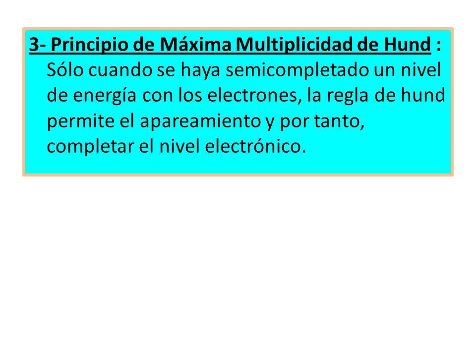3- Principio de Máxima Multiplicidad de Hund : Sólo cuando se haya semicompletado un nivel de energía con los electrones, la regla de hund permite el apareamiento y por tanto, completar el nivel electrónico.