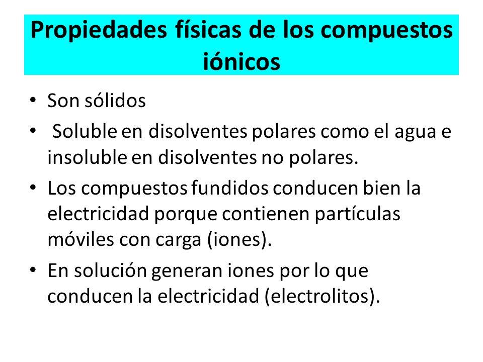 Propiedades físicas de los compuestos iónicos