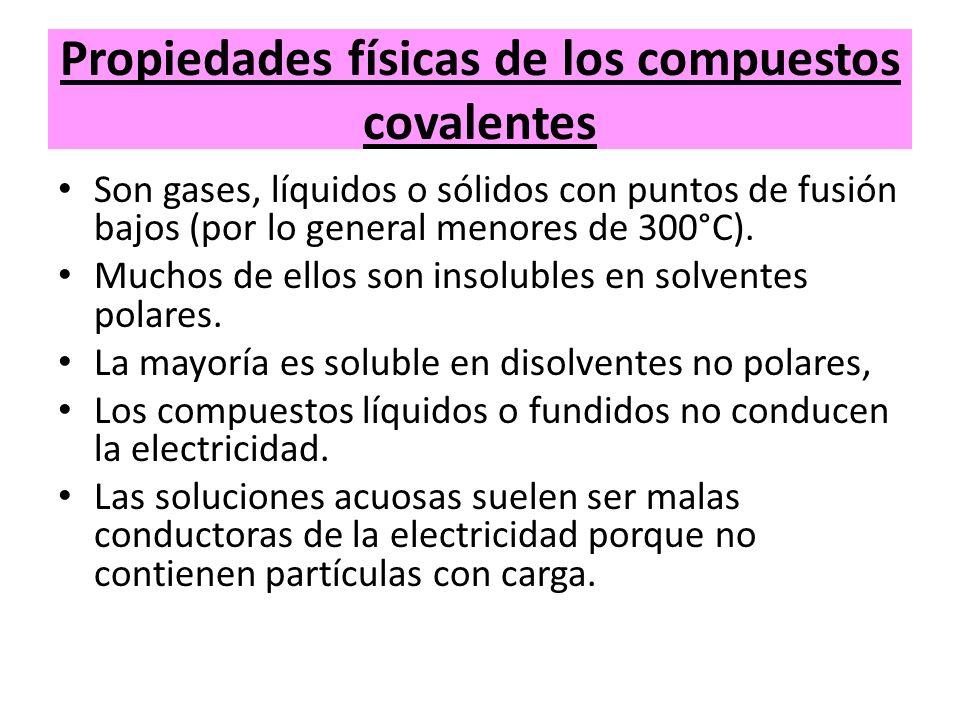Propiedades físicas de los compuestos covalentes