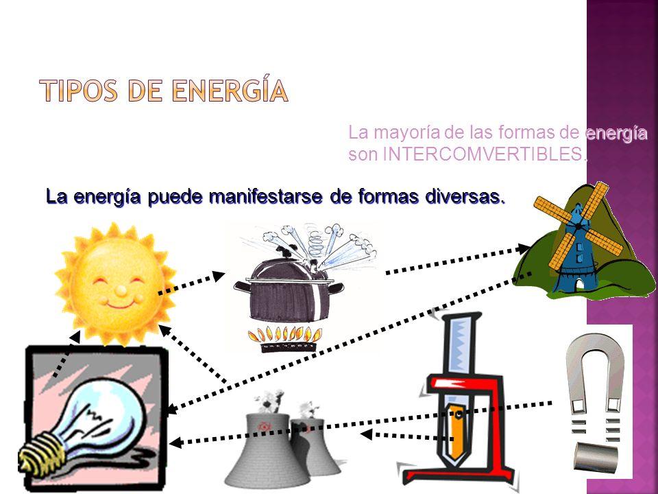TIPOS DE ENERGÍA La energía puede manifestarse de formas diversas.