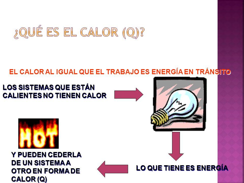 ¿QUÉ ES EL CALOR (Q) EL CALOR AL IGUAL QUE EL TRABAJO ES ENERGÍA EN TRÁNSITO. LOS SISTEMAS QUE ESTÁN CALIENTES NO TIENEN CALOR.