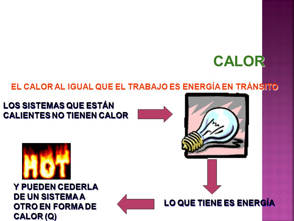 CALOR EL CALOR AL IGUAL QUE EL TRABAJO ES ENERGÍA EN TRÁNSITO