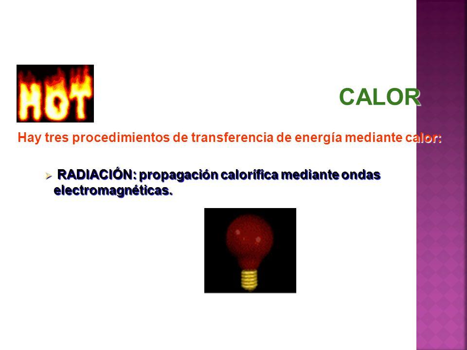CALOR Hay tres procedimientos de transferencia de energía mediante calor: RADIACIÓN: propagación calorífica mediante ondas electromagnéticas.
