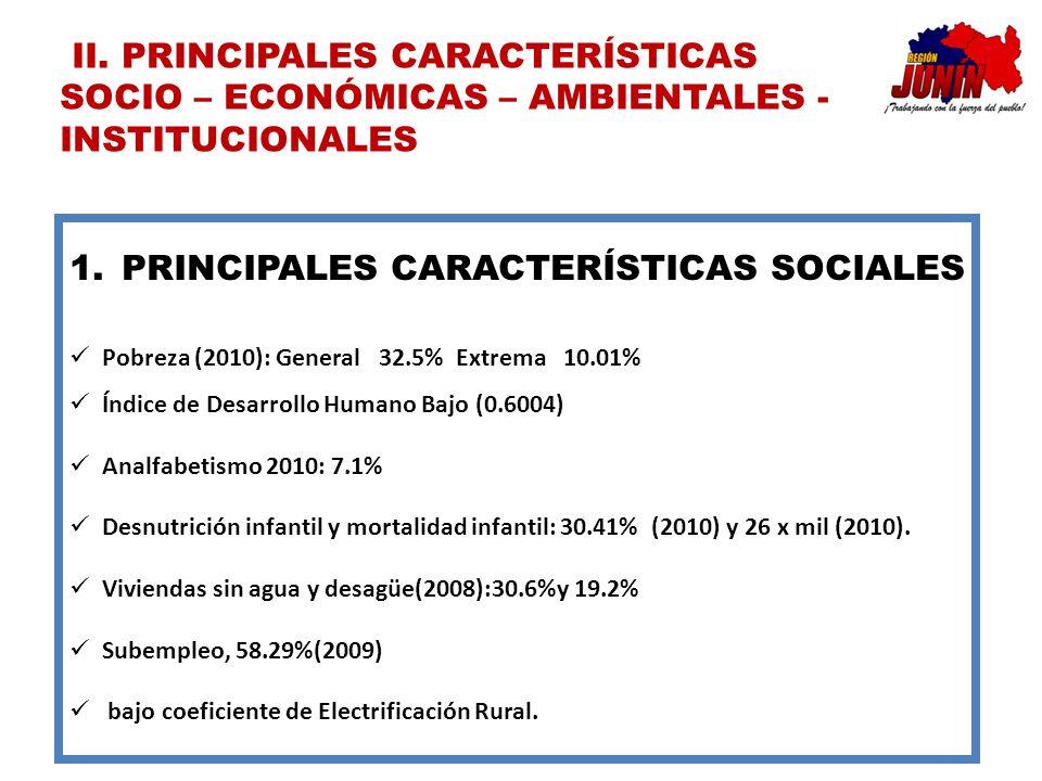 PRINCIPALES CARACTERÍSTICAS SOCIALES