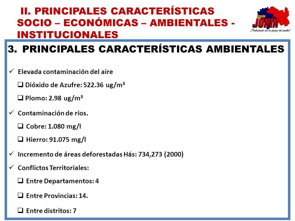 PRINCIPALES CARACTERÍSTICAS AMBIENTALES
