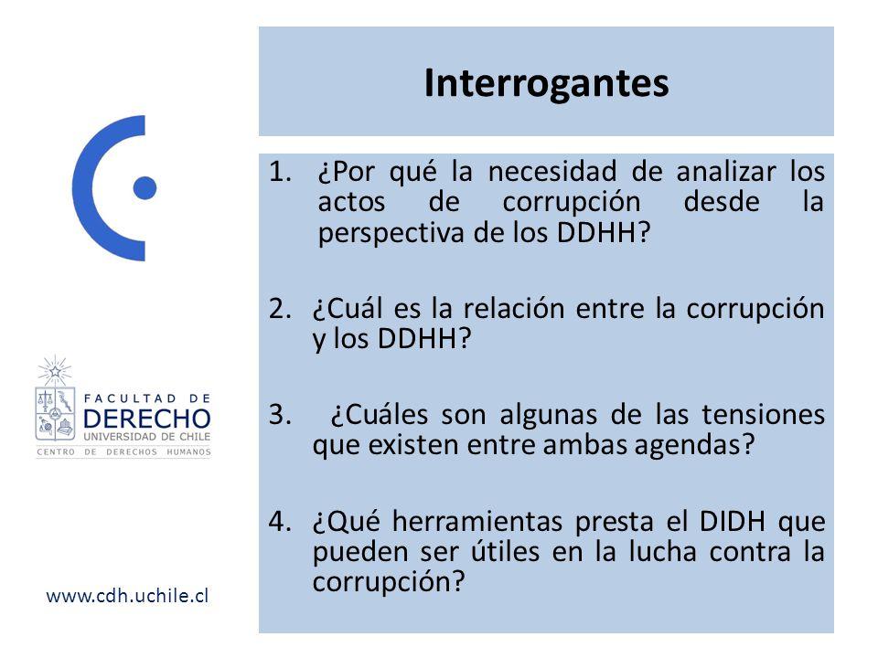 Interrogantes ¿Por qué la necesidad de analizar los actos de corrupción desde la perspectiva de los DDHH