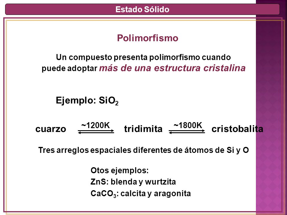 Polimorfismo Ejemplo: SiO2 cuarzo tridimita cristobalita Estado Sólido