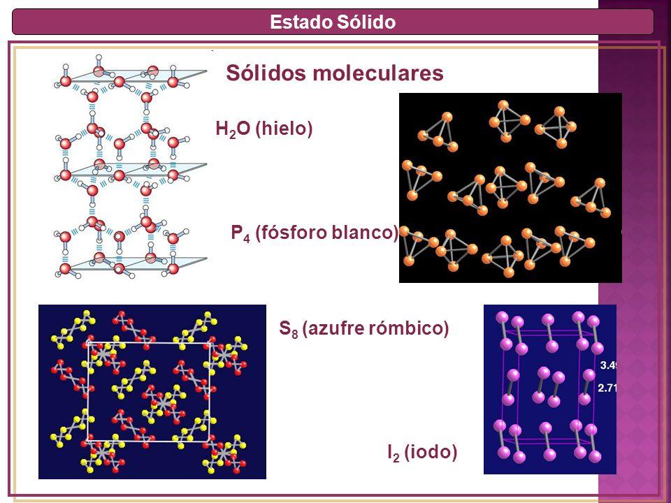 Sólidos moleculares Estado Sólido H2O (hielo) P4 (fósforo blanco)