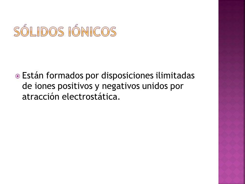 Sólidos iónicos Están formados por disposiciones ilimitadas de iones positivos y negativos unidos por atracción electrostática.