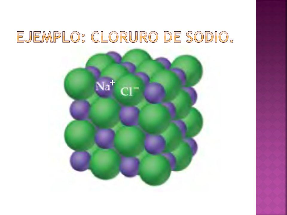Ejemplo: cloruro de sodio.