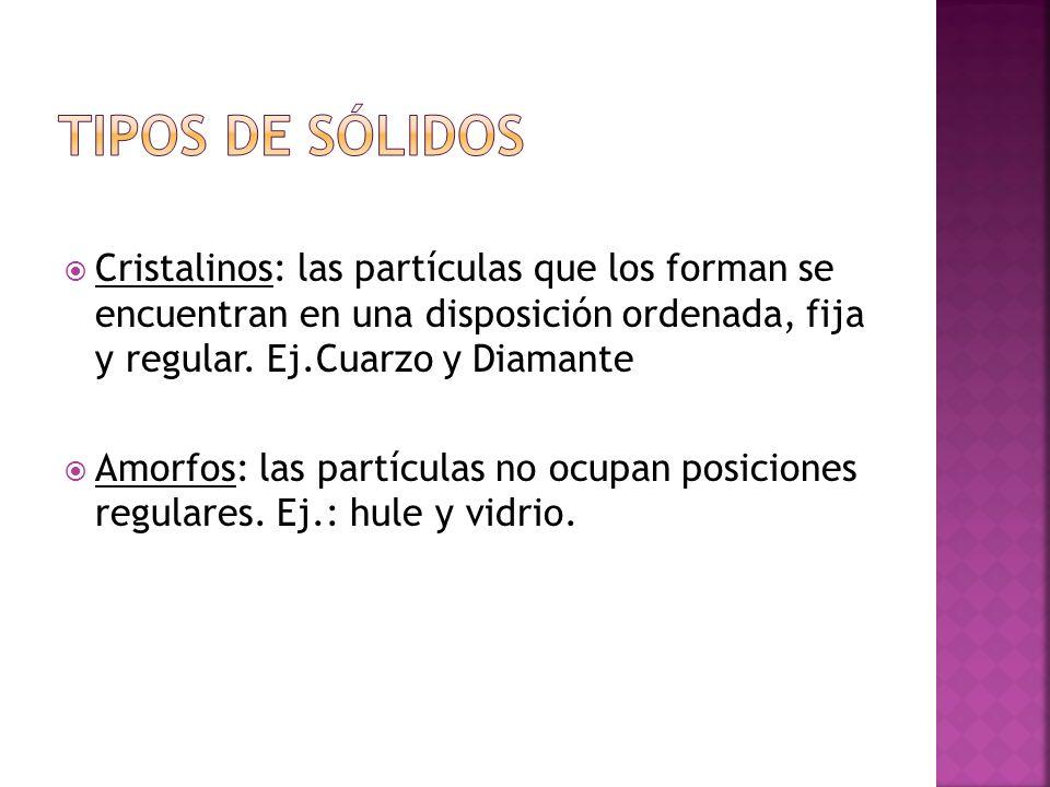 Tipos de sólidos Cristalinos: las partículas que los forman se encuentran en una disposición ordenada, fija y regular. Ej.Cuarzo y Diamante.