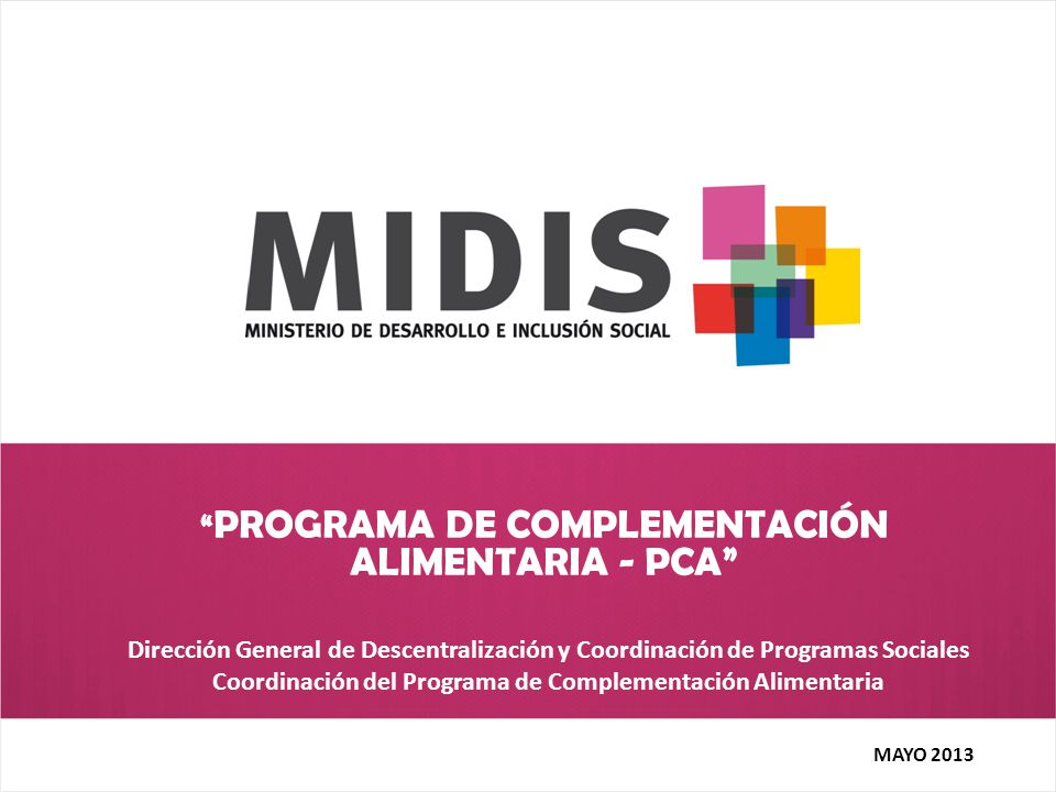 PROGRAMA DE COMPLEMENTACIÓN ALIMENTARIA - PCA