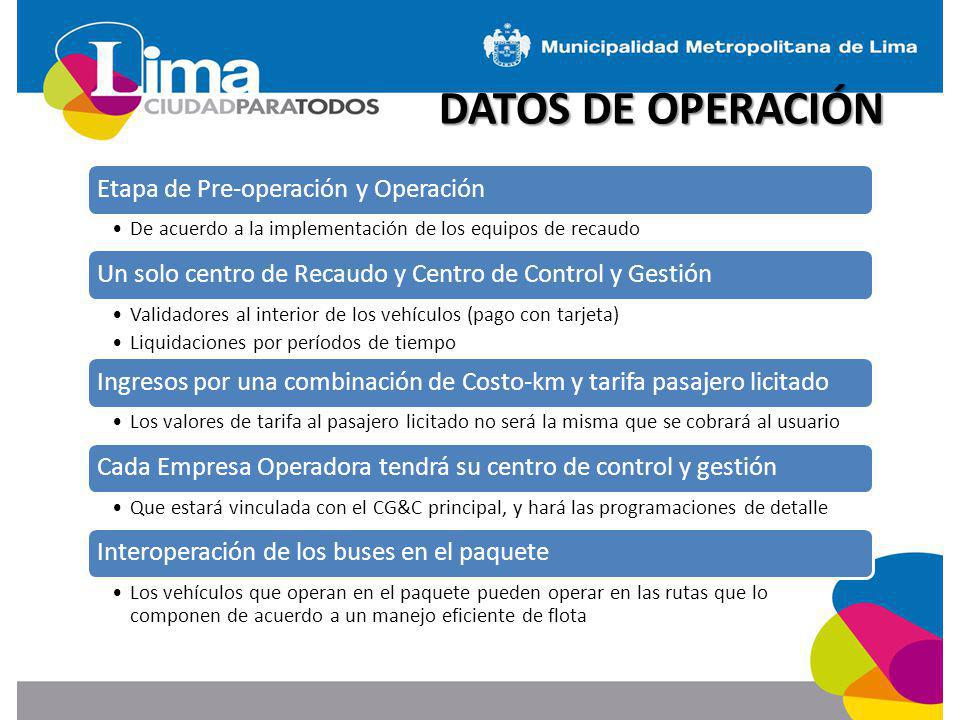 DATOS DE OPERACIÓN Etapa de Pre-operación y Operación