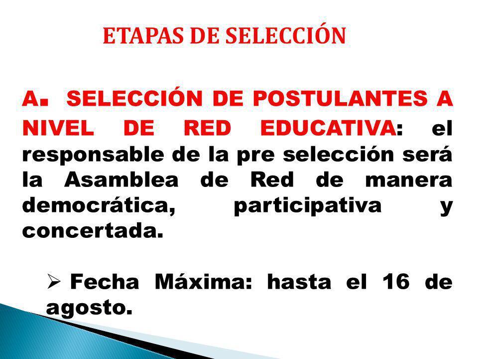 ETAPAS DE SELECCIÓN