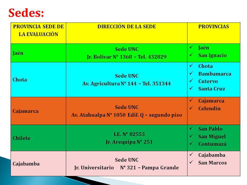 Sedes: PROVINCIA SEDE DE LA EVALUACIÓN DIRECCIÓN DE LA SEDE PROVINCIAS