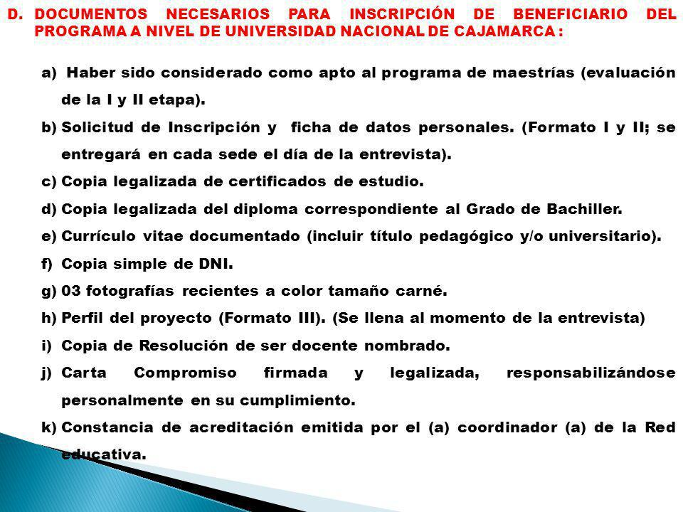 Copia legalizada de certificados de estudio.