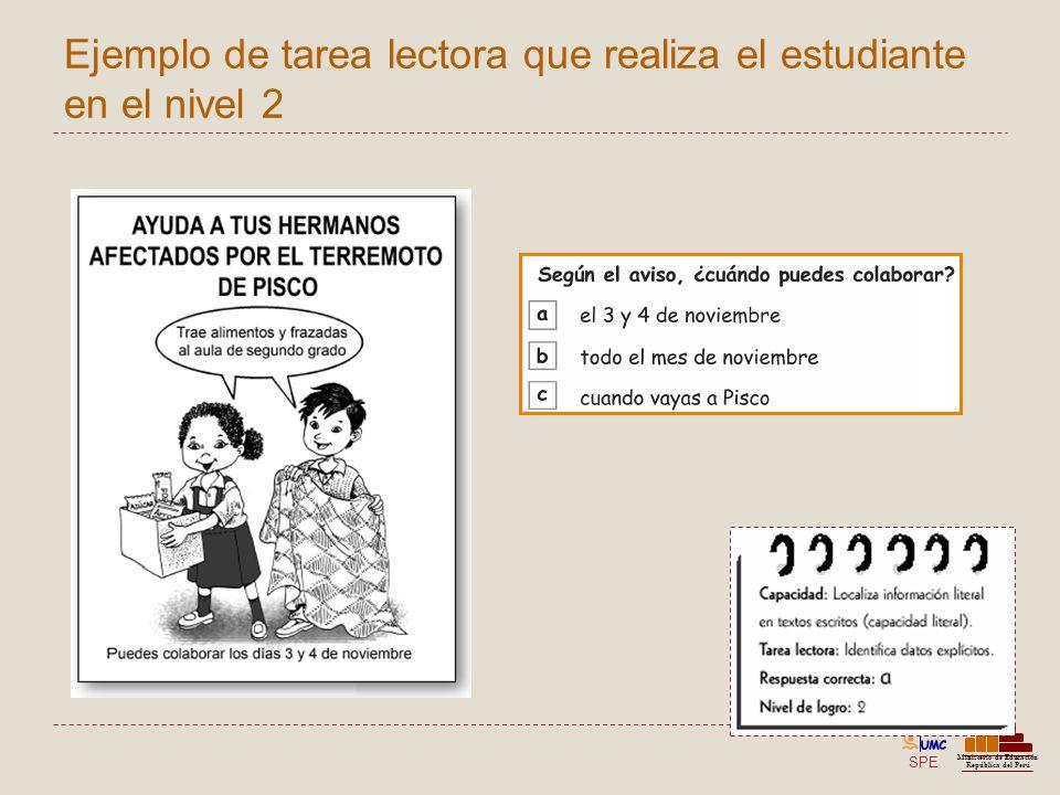 Ejemplo de tarea lectora que realiza el estudiante en el nivel 2